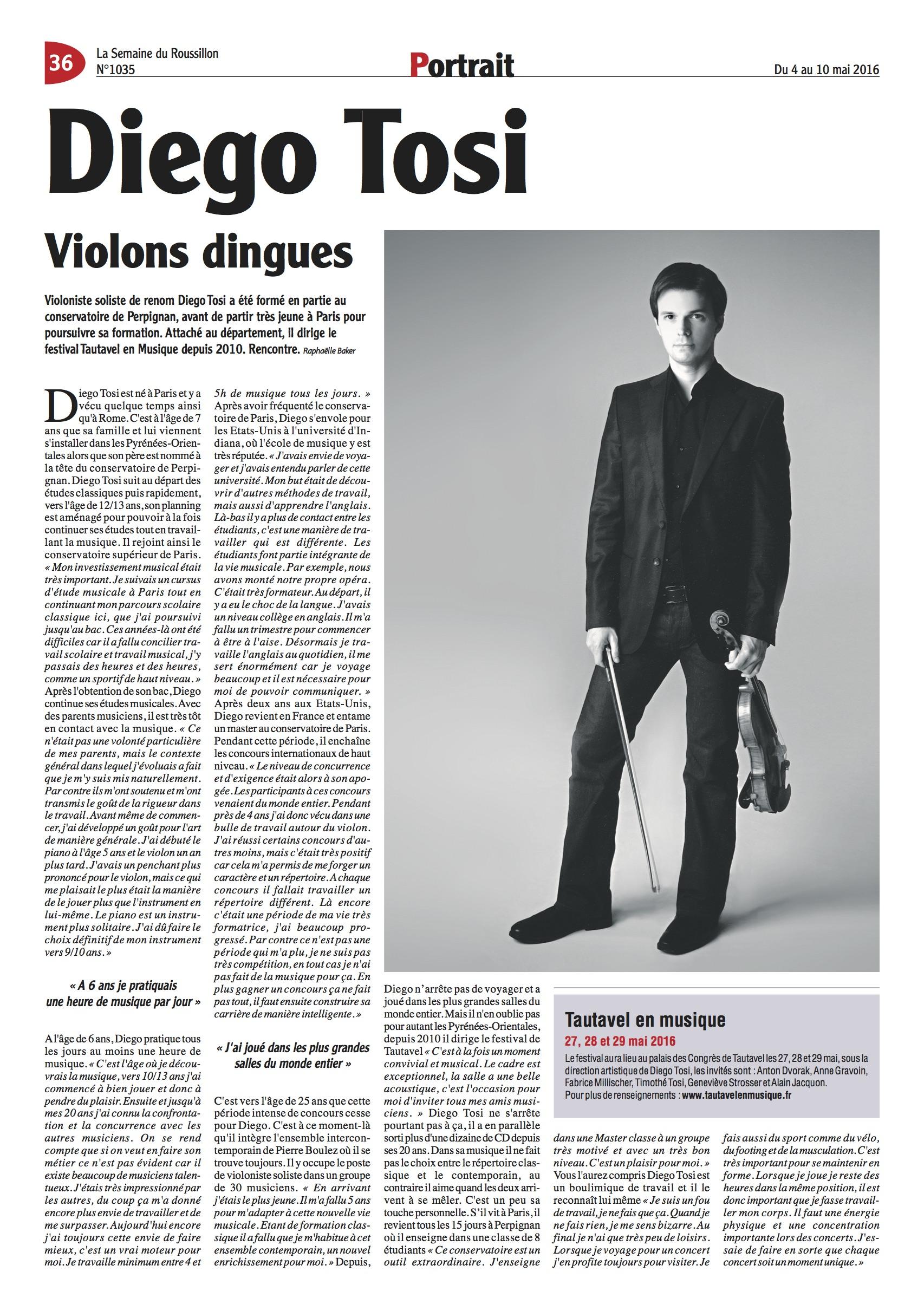 La Semaine du Roussillon : Diego Tosi - Des violons dingues